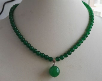 jade necklace- green jade necklace, jade necklace pendant, 6mm green jade necklace