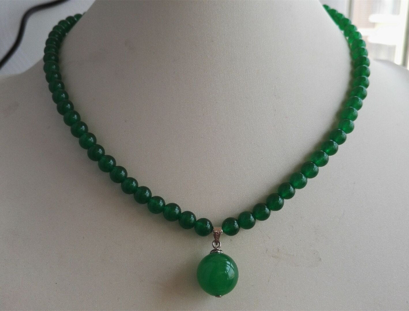 Jade necklace green jade necklace jade necklace pendant 6mm for Pictures of jade jewelry