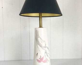 Hand-Painted Flamingo Lamp