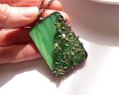 Stained glass necklace,  wire pendant, gift for women, bohemian jewelry, anniversary gift, contemporary necklace, green, fashion jewelry