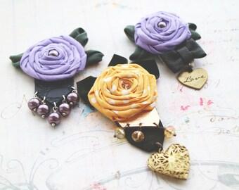 Yellow rose brooch. Yellow flowers brooch. Fabric brooch. Polka dots flowers. Beach bridal. Bridesmaids brooches.Yellow wedding