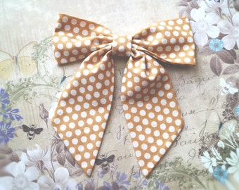 Oversized Mustard Bow tie. Cotton fabric bow. Big bow. Hipster bow tie. Polka dots elegant brooch bow. ready to ship, mustard wedding