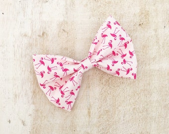 White with pink flamingo print hair bow on clip Pin up