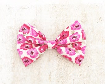 "Cute white with pink floral print 4"" Hair Bow Clip"