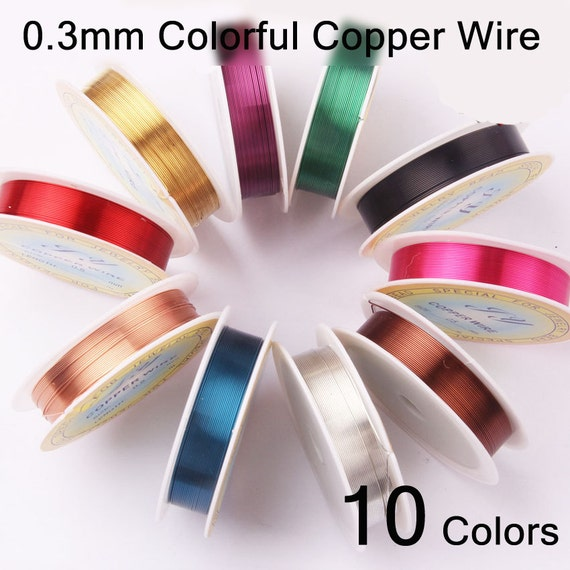 0.3mm Non Tarnish Permanently Colored Enameled Copper Beading Wire Dead Soft Craft Assorted 10 Spools Rolls Mix colors 10 meters/11 YD roll