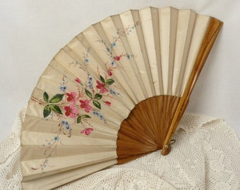 Large Wooden Hand Held Fan Vintage Wood and Silk Fan with Painted Flowers