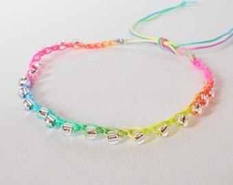 rainbow colour anklet, beaded ankle bracelet, adjustable crochet anklet, surfer style, festival jewelry, beachwear, LGBT, gift for her