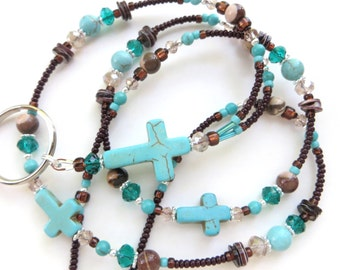 SOUTHWEST CROSS- Beaded ID Lanyard- Magnesite, Turquoise, and Australian Zebra Jasper Gemstones (Magnetic Clasp or Comfort Created)