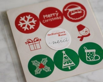 Christmas Party Stickers - 3.7cm Round Circle Sticker Envelope Seals - 45 seals
