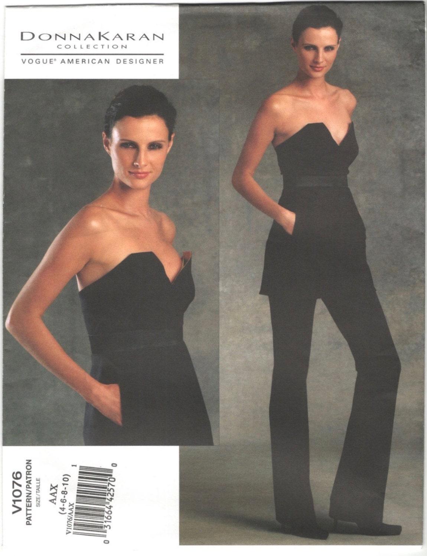 Donna Karan bustier pantsuit pattern Vogue 1076