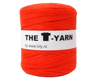 The t-shirt yarn 120-135 yards, 100% recycled cotton tricot yarn, orange 1
