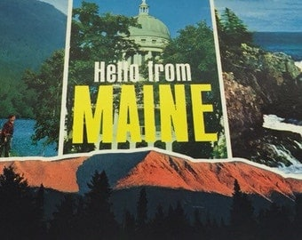 1939 Postcard Hello From Maine Beautiful  Maine Sites