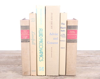 Beige Books / Old Books Vintage Books / Brown Decorative Books / Antique Books / Vintage Mixed Book Set / Books by Color / Books for Decor