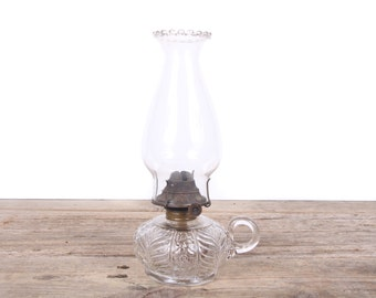 Antique Glass Finger Oil Lamp / Oil Lamps Antiques / Wedding Lamp / Oil Lamps Vintage / Clear Glass Oil Wick Lamp Eagle Oil Lamp Finger lamp