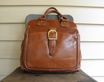 Vintage Brown LEATHER Top Handle Handbag Purse 1950s Large Footed Duffel Cross Body Shoulder Briefcase Studded Talon Zipper Brass Mad Men