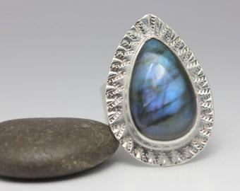 Labradorite and Sterling Ring, Blue Flash Labradorite, Unisex, Teardrop, Statement Ring, Size 7.5