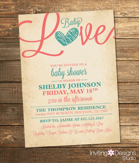 Baby Love Shower Invitation - Coral Teal