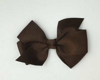 Boutique Hair Bows- Brown- 3 inch Hair Bow, Boutique Bow, Babies Toddler Girls Women