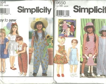 TWO Simplicity Girls Patterns 8964 Dress Romper & 9650 Jumper, Jumpsuit, Doll and Clothes UNCUT