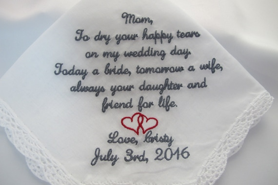 Mother of the Bride Wedding Handkerchief