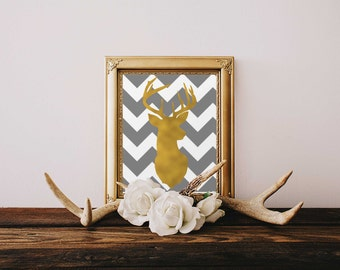 "8X10 ""Gold Leaf"" Stag. Digital Image, Chevron background. Home decor. Vintage Chic. Deer head. Silhouette."