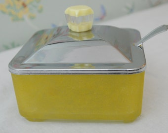 Chrome Lidded Yellow Frosted Glass Sugar Bowl with Spoon