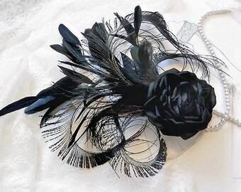 Silk Flower Hair Clip ~ fascinator ~ Black Rose