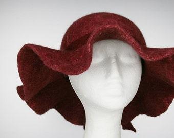 Women's Claret / wine-coloured Brimmed Wool Felt Floppy Hat - Retro inspired Elegant  dark red felt hat - Wide Brim Hat - Ready to ship