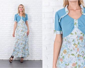 Vintage 70s Blue Boho Hippie Dress Ruffle Maxi Floral Print Medium M 7433 vintage dress 70s dress blue dress maxi dress medium dress