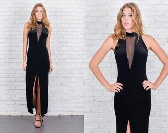 Vintage 80s 90s Black Velvet Dress Plunging Mesh Neckline Open Back Maxi XS S 5774 vintage dress black dress mesh dress maxi dress xs dress