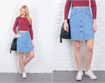 Vintage 80s 90s Blue Denim Mini Skirt A Line High Waist jean Small S 6475 vintage skirt 80s skirt 90s skirt blue skirt denim skirt