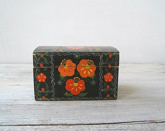 Orange Poppy Wood Box, Vintage Folk Art Soviet Trinket Box, Wooden Storage Box, Vanity Desk Organizer, Woman Jewelry Box Floral Black Orange