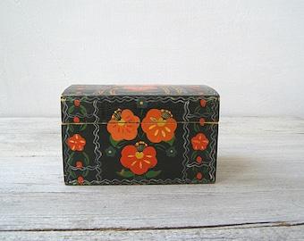 Black Orange Poppy Folk Art Wood Box, Vintage Soviet Jewelry treasure Trinket Wooden Storage Box, Floral Vanity Desk Organizer, Woman Gift