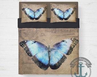 Butterfly Duvet Set | Cottage Chic Feminine Nature Inspired Bedding | Duvet Cover + 2 Standard Pillow Cases | Made in the USA