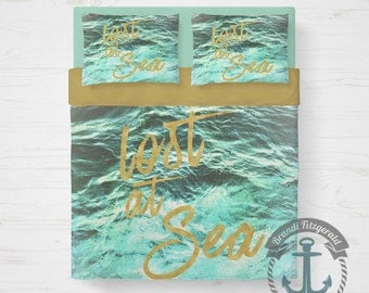 Seascape Duvet Set | Lost at Sea Nautical Beach House Bedding | Duvet Cover + 2 Standard Pillow Cases | Made in the USA
