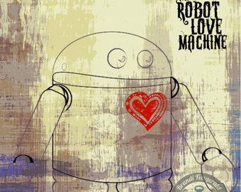 The Robot Love Machine Robot Love Fun Nursery Nerd Decor Product Options and Pricing via Dropdown Menu