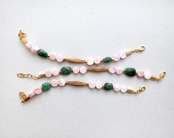ONE Minimalist Pink Opal and Green emerald beads bracelet, Delicate bracelet, pink green bracelet by pardes
