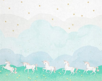 Mint Metallic Unicorn Parade Double Border from Michael Miller's MAGIC! Collection by Sarah Jane