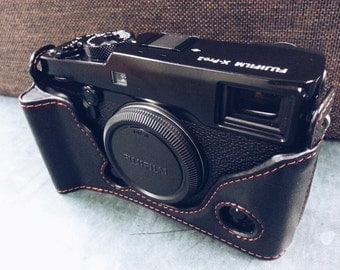 Cow leather case for Fujifilm X-Pro2 xpro2 with enlarge handgrip include leather half case in black