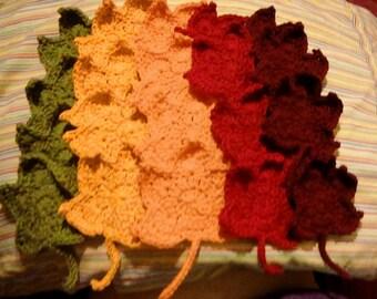 100% Cotton Crochet Maple Leaf Coasters