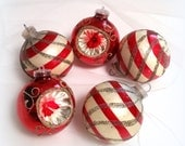 50s Red & White Mercury Glass Ornaments -  3 Atomic - 2 Indent - Shiny and Bright - Vintage Tree Ornaments