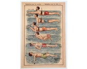 SWIMMING STROKES - modern reprint of a 1920 lithograph -  swimming pool summer water pool print - swimming style - front belly strokes