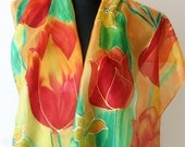 Hand painted silk scarf. Spring tulips and daffodils. Red and orange tulips. yellow daffodils. Yellow and green. Painted art scarf.