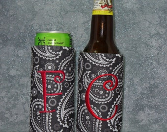 Bottle, Beer Beverage Holder, Black Paisley, Monogram Cozies