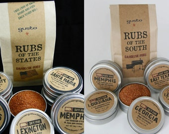 TWO Gusto Spice Rub sets: One Original Rubs of the STATES and One Rubs of the SOUTH // Barbecue Gift Set -  Bbq Grilling Spices