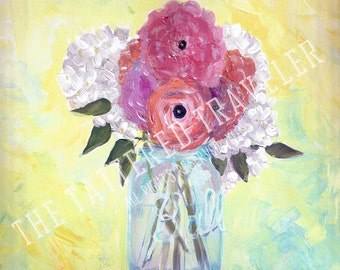 Ball Jar Bouquet | Mason Jar and Flowers Acrylic Painting | Giclee Art Print