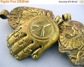 50% off HUGE Clearance Tibetan Brass Pendant-- Hand of Buddha Pendant- Large Tibetan Brass Repousse Pendant- YoU CHooSE (S22B13-06)