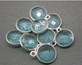 12% off Wholesale Aquamarine Quartz Station Round Pendant- 10mm Sterling Silver Bezel- Charm Pendant (WT-16)