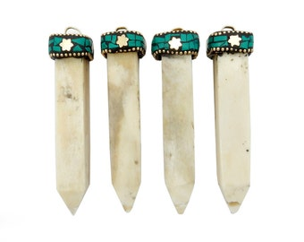 White Bone Spike Pendant with Brass Turquoise Repousse Cap (S92B9-02)
