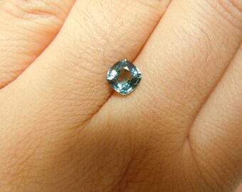 Genuine Montana Sapphire 1.14 carat Blue Green Cushion cut 6 mm Loose Gemstone For Jewelry
